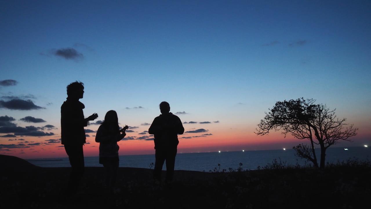 鳥取砂丘から見る夕日